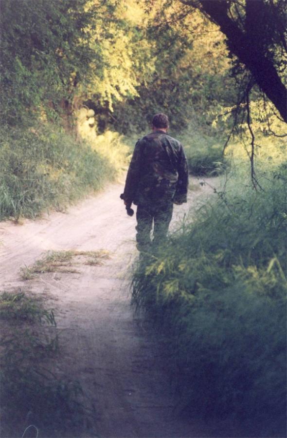 Agent walking the drag road in Hidalgo County near Rio Grande.