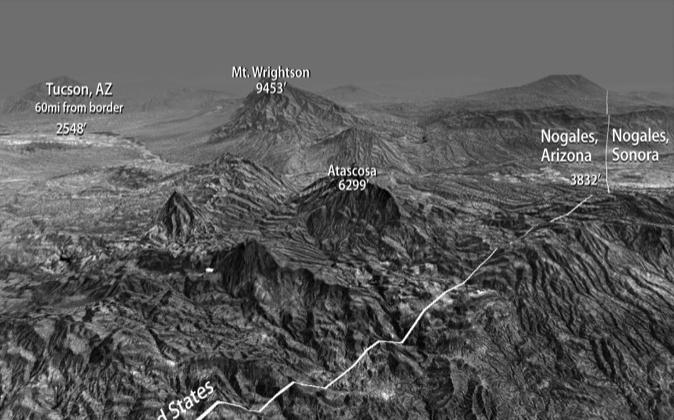 Terrain of Arizona border near Nogales