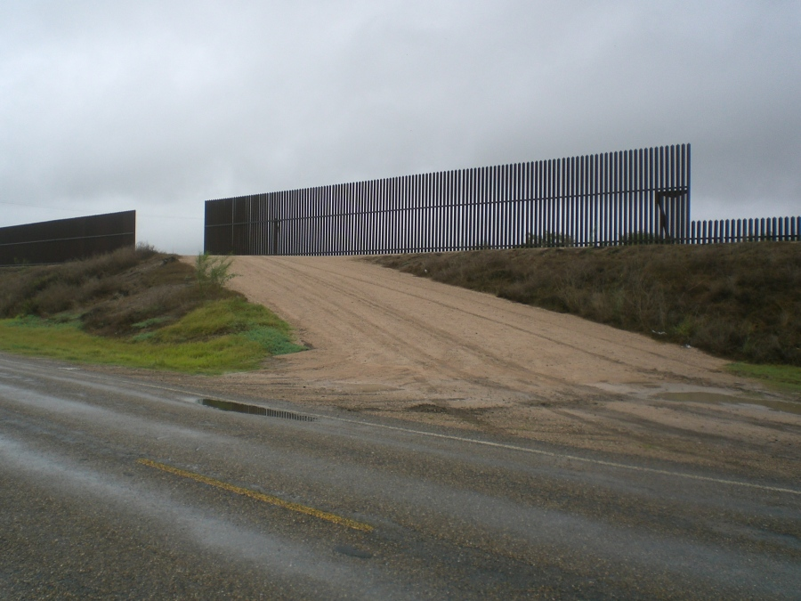 Fence in front of levee, Hidalgo County, July, 2011