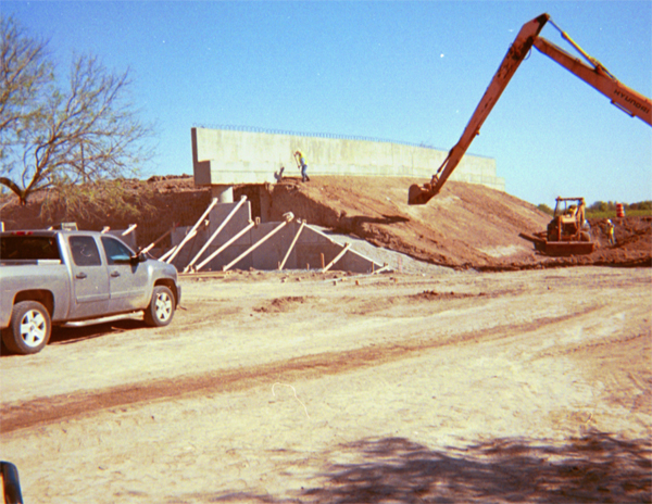 Construction of wall south of McAllen, Texas